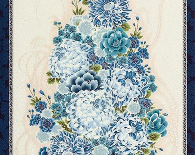 Robert Kaufman - Imperial - Collection 13 -  SRKM-16758-62 INDIGO - Panel - Sold by Panel - Blue - Gold Metallic