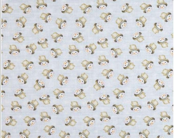 Benartex - White Woodland - Snow Fun - Medium Periwinkle - Snowman - Tossed Snowmen - 06651-51 - Sold by the Yard