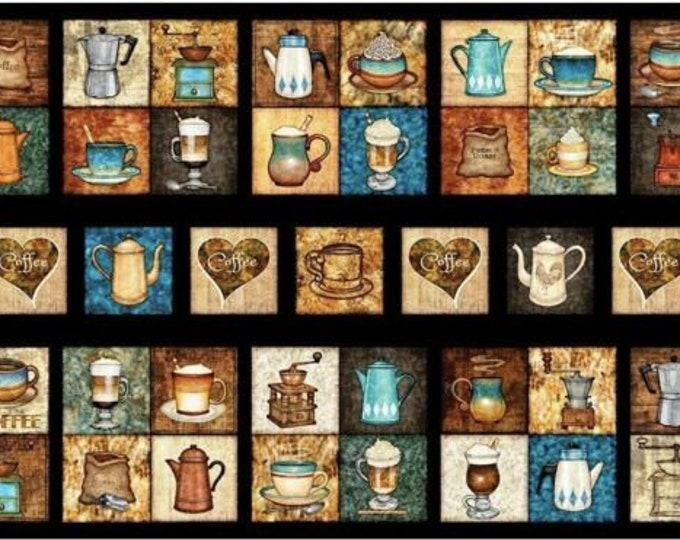 Quilting Treasures - Cafe All Day - Coffee - 27072 J -  Panel - Coffee Pot - Cups - Coffee Grinder  Coffee Beans - Sold by the Panel