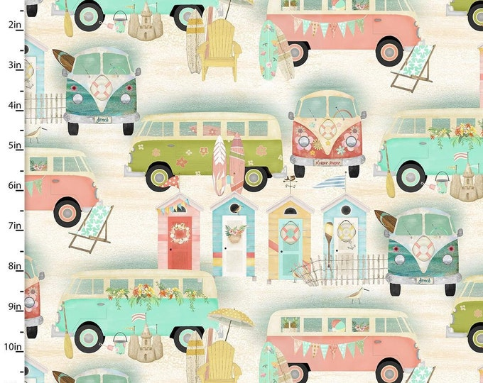 3 Wishes - Three Wishes - Beach Travel - Vintage Bus Toss -  17332 - Sold by Yard