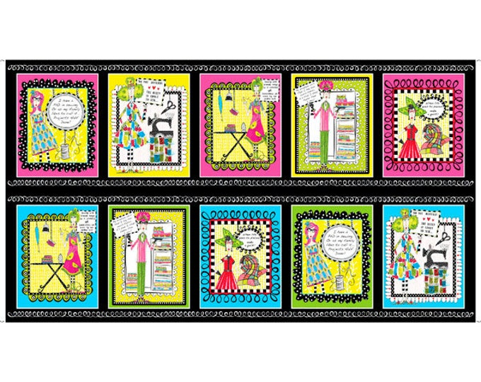 Quilting Treasures - Sew Sassy - Sewing Ladies - Patches Panel - Panel - Black  - 26784J - Sold by the Panel