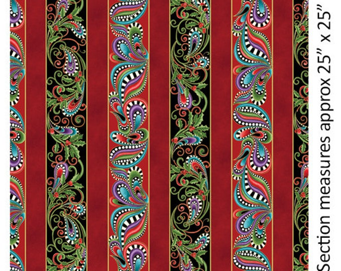 Benartex - Cat-I-Tude - Christmass -  Cat - Metallic - Border Stripe -  6742M99B  - Sold by the Yard