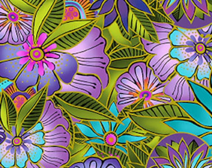 Laurel Burch - Sea Goddess - Floral - Multi - Flowers -  Y2599-55 - Sold by Yard