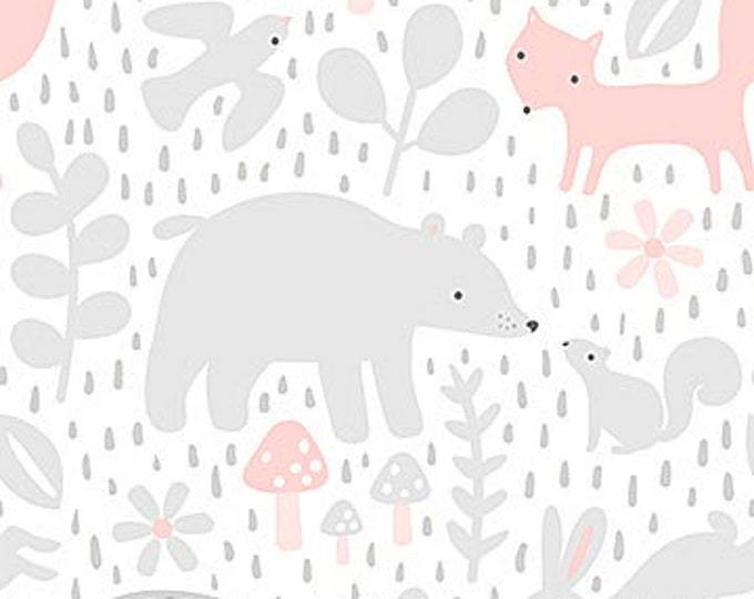 New - Northcott - Hello Little One - Gray Forest with Pink - Animal Baby Print - Baby Pastel - Baby - Pastel - 22692-21 -  Sold by yard