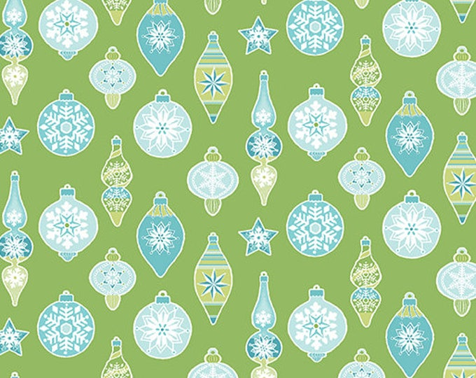 Contempo - Nordic Holiday - Green with Teal Christmas Ornaments - 1887-44 - Fabric by the Yard