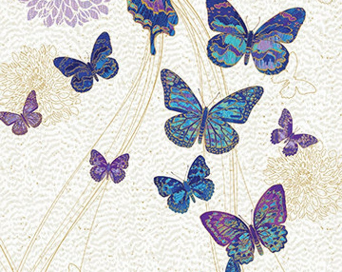 New - Northcott Shimmer Fantasia - Nocturnal Bliss Butterflies - Fantasia - Fantasia Panel - 22956M44 - Gold Metallics - Sold by Panel