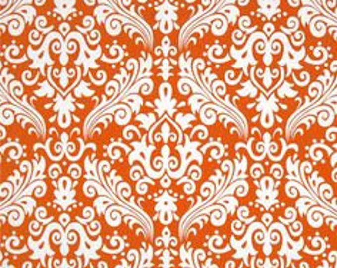 Riley Blake - Large Damask - White on Orange
