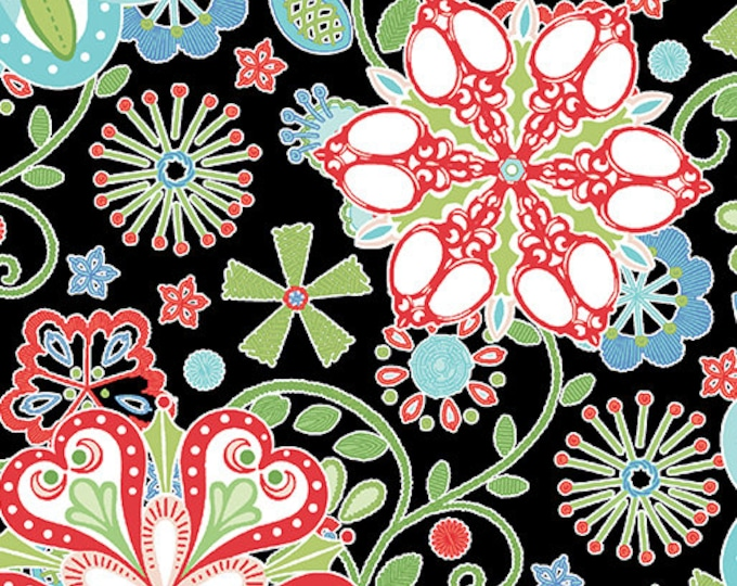 Benartex - Contempo -Sewing Room - by Amanda Murphy - Medallions - Black - 3401-12 - Sold by the Yard