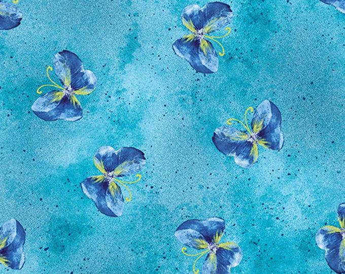 Kanvas - Floral Impression - Gold Metallic - Turquoise - Floral - Flowers - 8674M-84