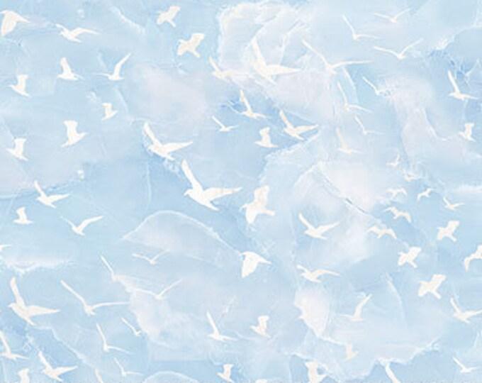 "Northcot  - Swept Away - DP23364-42 - Flying Gulls - Blue - Ocean Fabric - Sea Fabric - Birds - Beach - 36""x44"" - Sold by the Yard"