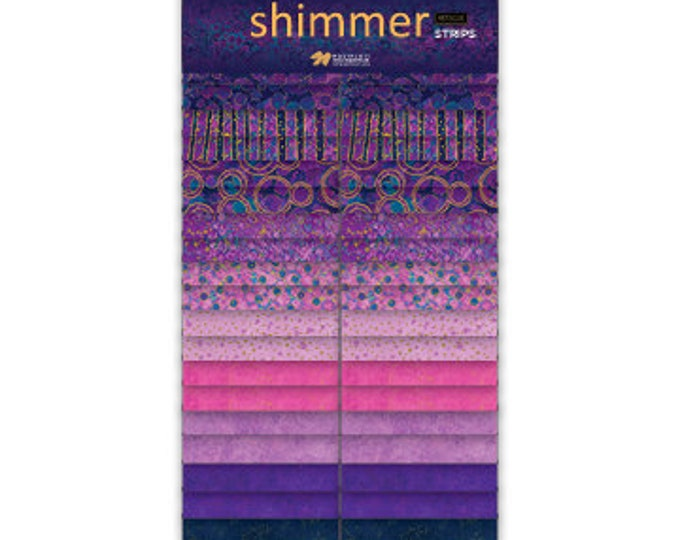 NEW - Northcott Shimmer - Midnight Sky - SSHIMMER40-85- Jelly Roll Pack - 2.5 Inch Strips- New Shimmer - Pink/Purple-Gold Metallic-40 Strips