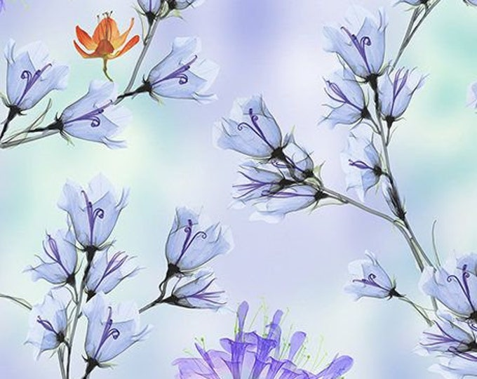 Quilting Treasures - Belle - Periwinkle - Floral Branches - Floral -  Sold by the yard