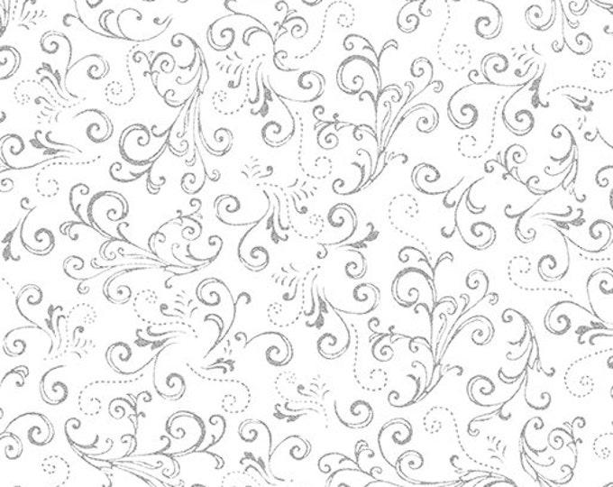 Kanvas for Benartex - Metallic Mixers - Metallic Scroll - White/Silver - 7718M-09  - Sold by the Yard