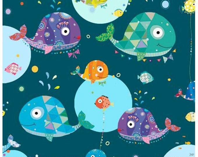 Quilting Treasures - Sea Buddies - Whales - Deep Ocean - Sea fabric  - 27620W -  Sold by the Yard