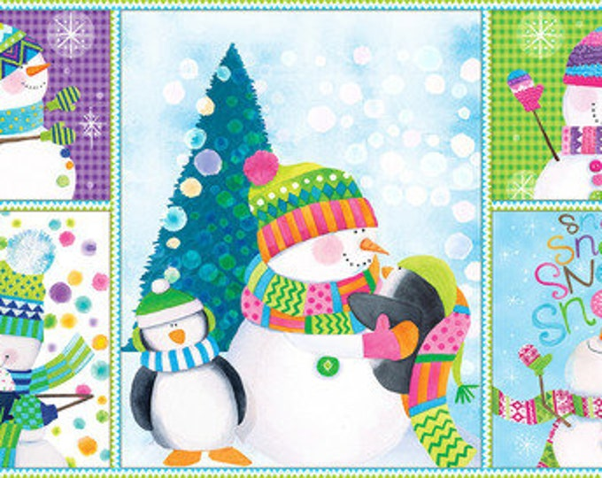 Blank Quilting - By Golly Let's Be Jolly - Panel - Snowman and Penguins - Penguins fabric - Snowman Fabric - Sold by the Panel
