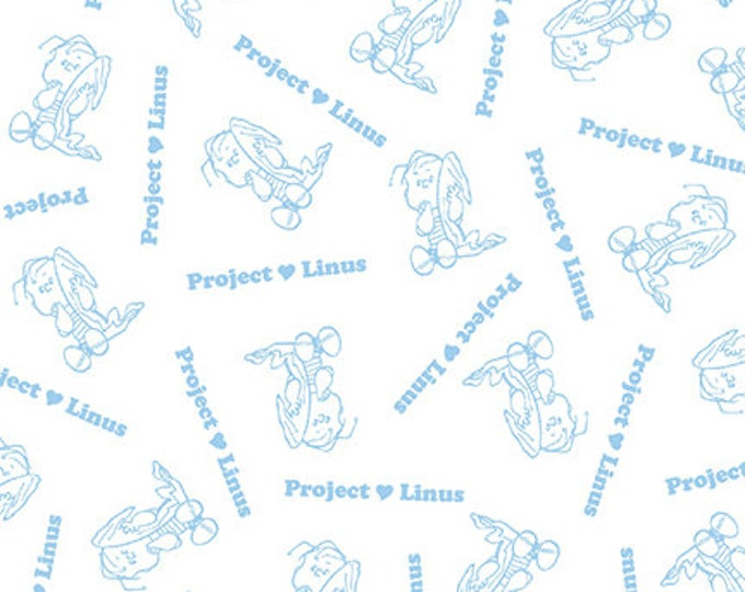 Quilting Treasures - Project Linus - Linus Blender - White/Blue - Peanuts Fabric -  Sold by the Yard