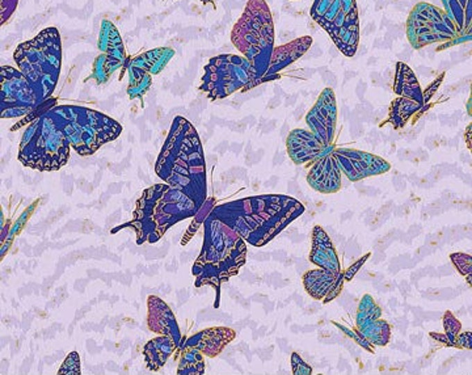 New - Northcott Shimmer Fantasia - Nocturnal Bliss Butterflies - Fantasia - Lavender Ombre - 22975M82 - Gold Metallics - Sold by yard