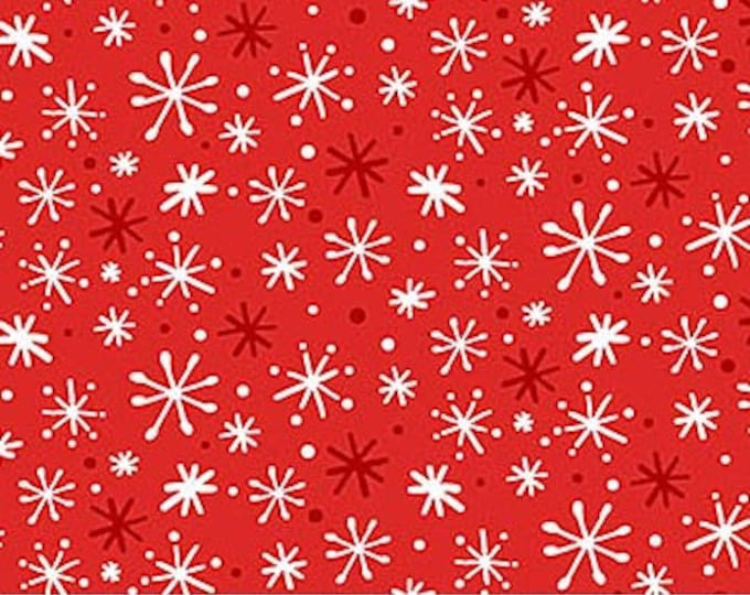 Northcot  - Yeti for Winter - flannel - F22211-24 - Red - Snowflakes - Sold by the Yard