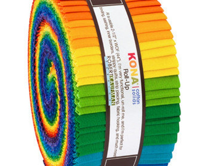 Robert Kaufman - Kona - Bright Rainbow - Rainbow -  Jelly Roll - 40 (2.5 Inch Strips)
