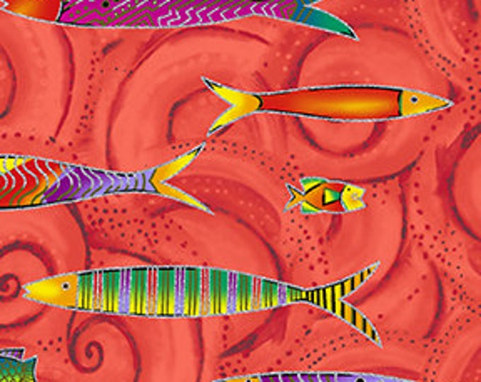 Laurel Burch - Sea Goddess - Fish - Tomato -  Silver Metallic - Y2600-80M - Sold by Yard