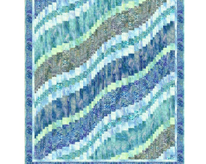"Quilting Treasures - Fusion - Quilt Kit - Bargello Quilt Kit - Water Quilt Kit - Teal -  Quilt Kit - 67""x 77"" -  Sold by the Kit"