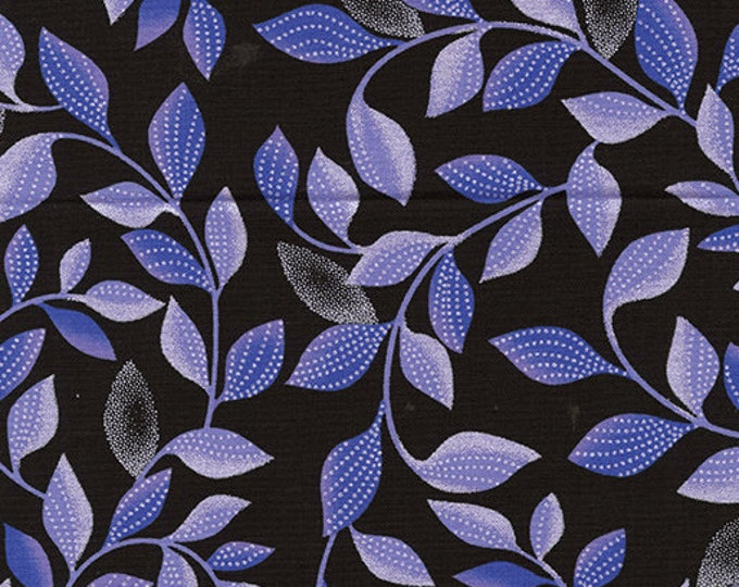 Kanvas for Benartex - Pearl Reflection - Pearl - Shimmer Leaves - Black/Purple - 8806P-66- Pearl - Sold by the Yard