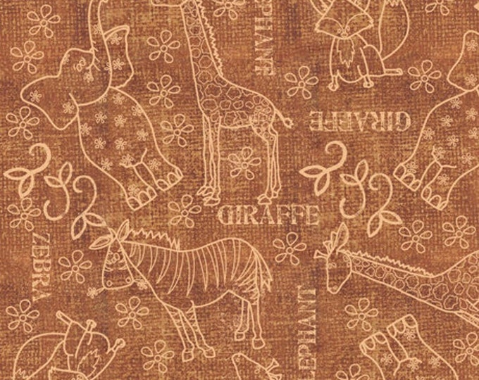 Quilting Treasures - Wild Things - Animals - Zoo Fabric - 23620 A - Brown - Sold by the Yard