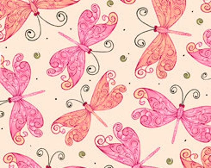 Quilting Treasures - Aziza - Sold by Yard - Butterflies - Butterfly - Pink - 26693 E