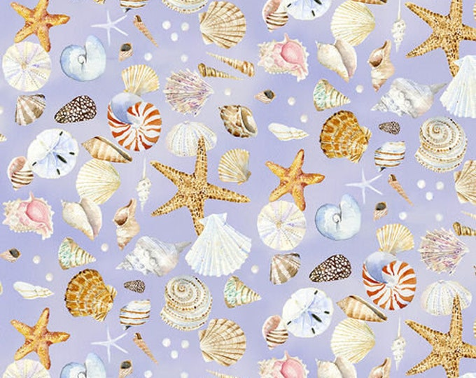 Henry Glass - Coastal Paradise  - 1505-55 - Shell Fabric - Lavender Background -  Sold by the Yard