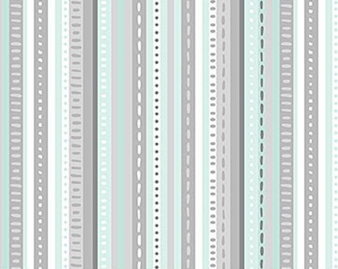 New - Northcott - Hello Little One - Mint/Blue Stripe - Animal Baby Print - Baby Pastel - Baby - Pastel - 22697-61 -  Sold by yard