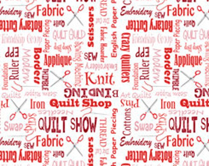 """Quilting Treasures - It's A Shop Hop - Shop Hop Fabric  - Quilter's Lingo - 27555R - Red - 36""""x43"""" - Sold by the Yard"""