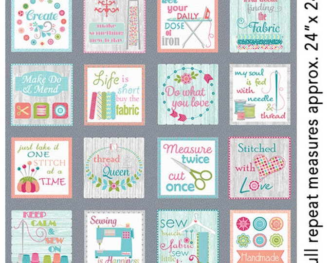 Benartex - Contempo - My Happy Place - Sew Wordy - Multi - 7591-99  - Sold by the Panel