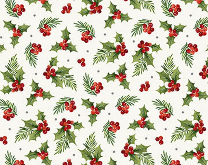 "Northcot  - Farmhouse Christmas - Xmas - Holly Toss  -  White - Christmas - Holly Fabric - 23495-10 -  36""x 44"" - Sold by the Yard"