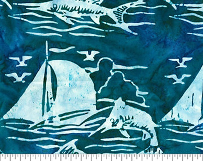 Northcott - Banyan Batik - At The Pier - Saling - Sail Boat Batik - Boat Batik - 80370-63  - Batik - Blue - Sold by the yard