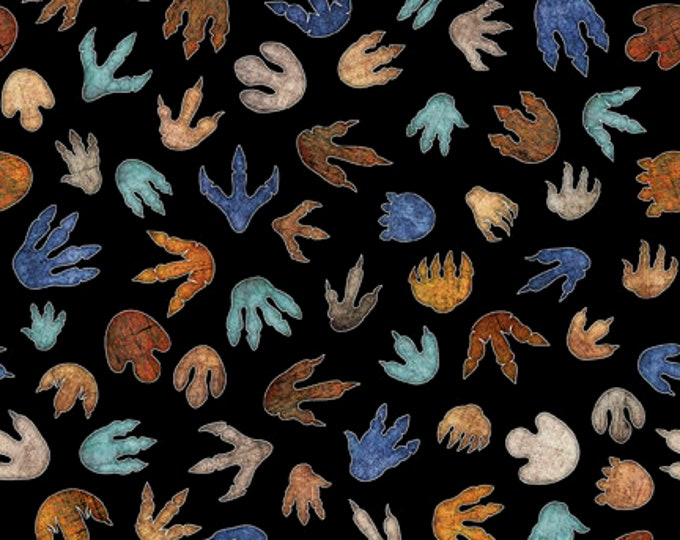 Quilting Treasures - Lost World - Dinosaur - Tracks - Black - 26802J - Sold by the Yard