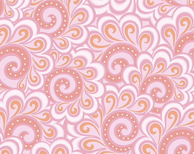 Benartex - Contempo - Free Motion Fantasy - by Amanda Murphy - Swirl Feather - Pink - 5446-01 - Sold by the Yard
