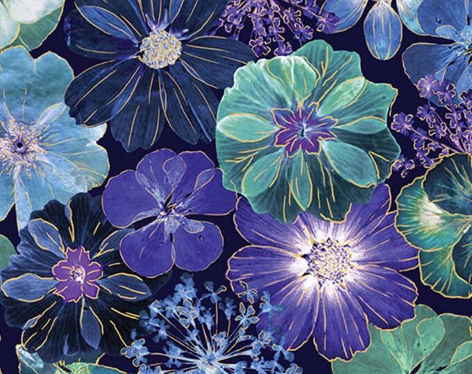 Kanvas - Floral Impression - Gold Metallic - Turquoise - Floral - Flowers - 8676M-55
