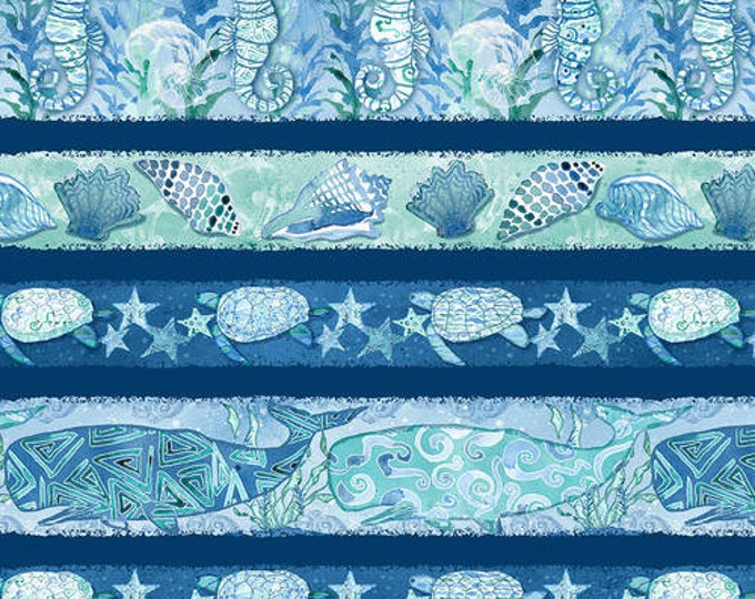 Blank Quilting - Sea Glass - Border Stripe - Turtle fabric - 9553-77 - Sold by the yard
