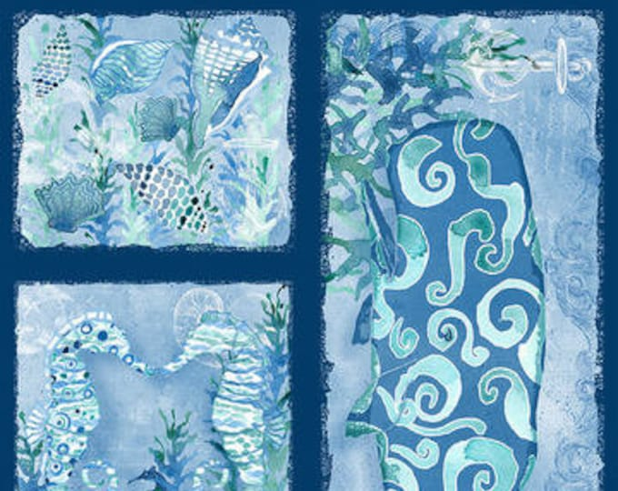 Blank Quilting - Sea Glass - Panel - Sea fabric - Sea Panel - Whale - Turtle - Shells - Sea Horse  -  Blue/Green/Teal - Sold by the Panel