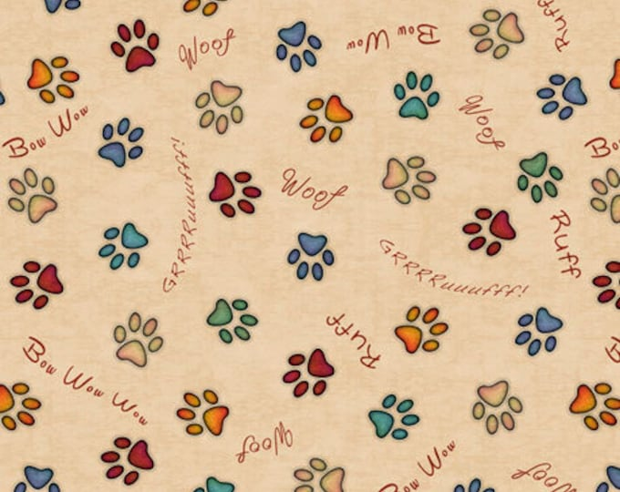 """Quilting Treasures - Must Love Dogs - Paws and Dog sayings - - Light Tan -  36""""x44""""  - 26939E - Sold by the Yard"""