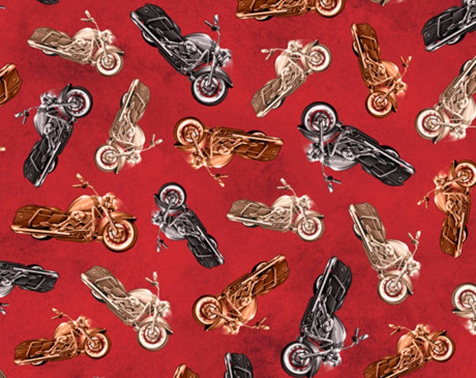 Quilting Treasures - Rule the Road - Motorcycle Toss - Red - Motorcycle  -  26689R - Sold by the Yard