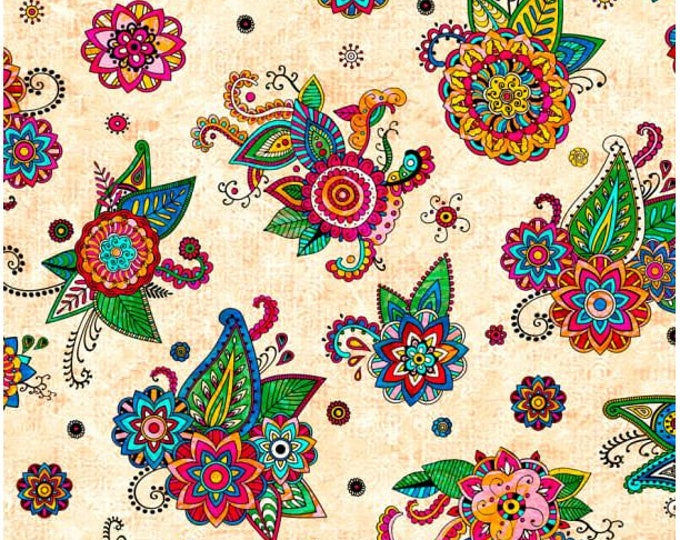 Quilting Treasures -Fiolrella - Cream -  27180E - Fabric by the Yard