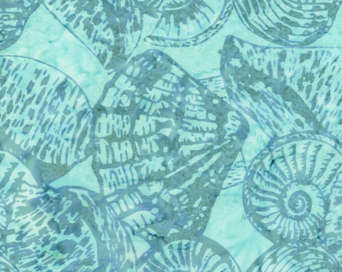 Tonga Batik - Aqua - Shells - Shell Batik - Teal on Teal - Tone on Tone - Sea Shells  - Batik -  Sold by the Yard