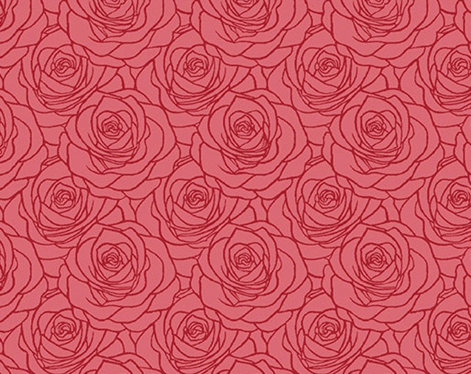 Benartex - Festival of Roses -Outline Roses - Red - Pearl -- 6642P10- Sold by the Yard