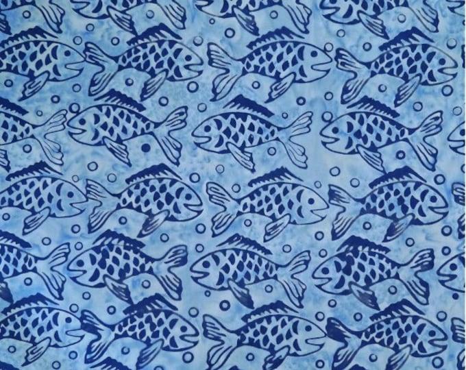 Batiks by Mirah - Batik - large blue Fish on Blue Background - Batik Fish