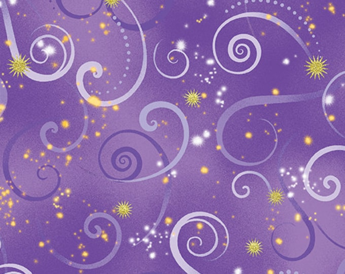 Kanvas for Benartex - Dance of the Dragonfly - Swirling Sky - Medium Purple - 8500-60 - Gold Metallic - Sold by the Yard