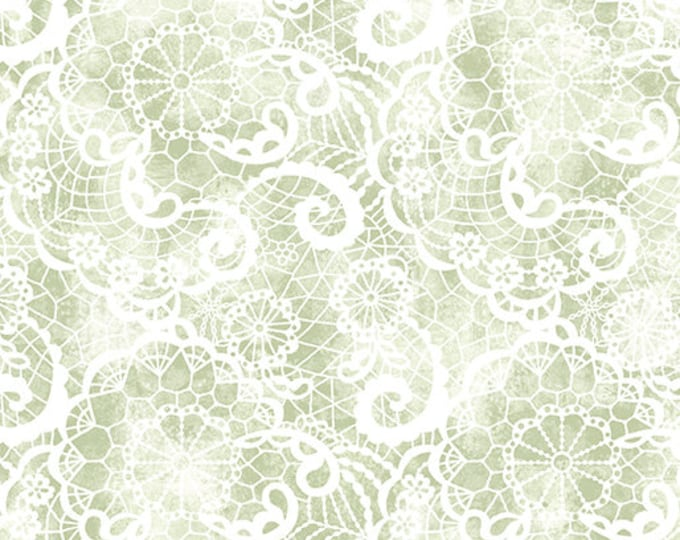 Benartex - Festival of Roses - Festive Lace  - Green - Pearl -- 6640P42- Sold by the Yard