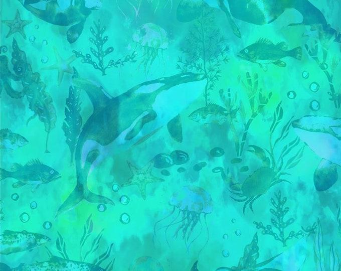 In the Beginning Fabrics - Calypso - Jason Yenter - Teal Undersea Tonal  - 5CAL2 - Sold by the Yard