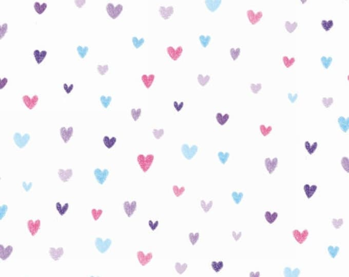 Studio E - Unicorn Kisses - Heart Fabric on White Background -  4056-15 - Sold by the Yard