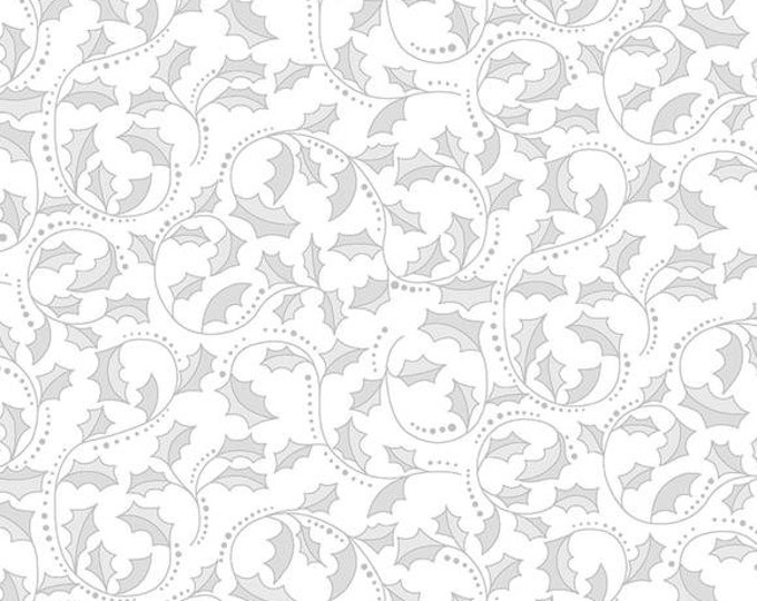 Benartex - A Festive Season II - Golden Leaf Scroll - Holly - Leaf Scroll  - Silver Metallic - Pewter/White - 2657M08B - Sold by the Yard